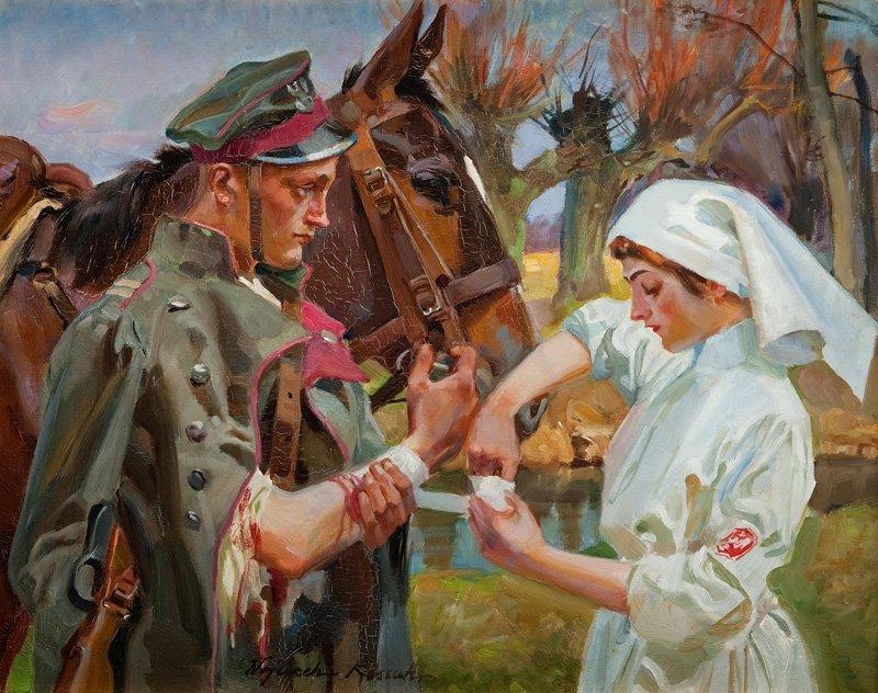 Wojciech Kossak (1856 Paris - 1942 Cracow) Ulan and a G