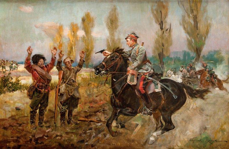 """Wojciech Kossak (1856 Paris - 1942 Cracow) """"Wziecie bol"""