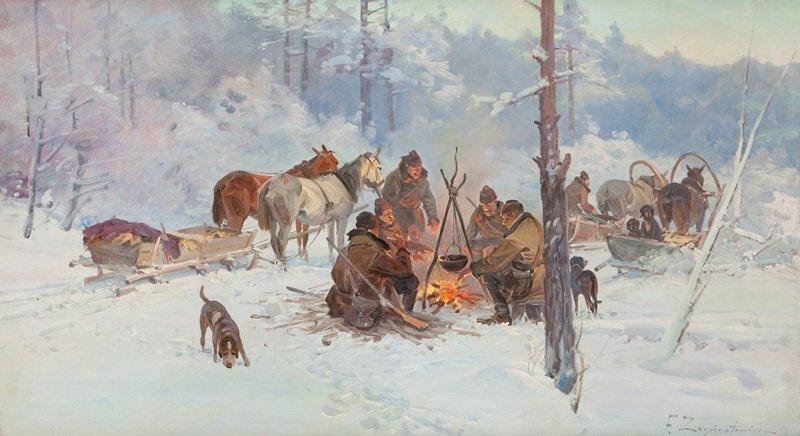 Ignacy Zygmuntowicz (1875 - 1947) (?) Hunters oil/canva