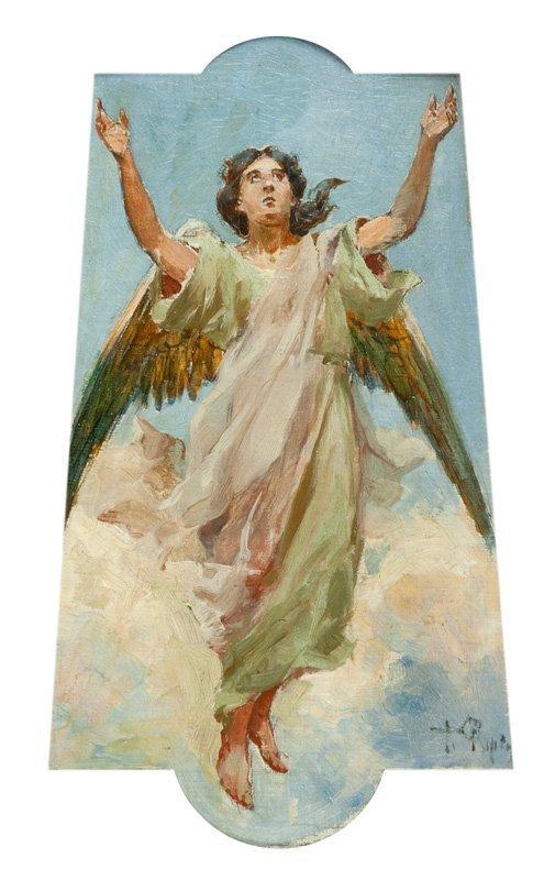 Tadeusz Popiel (1863 Szczucin - 1913 Cracow) Angel oil/
