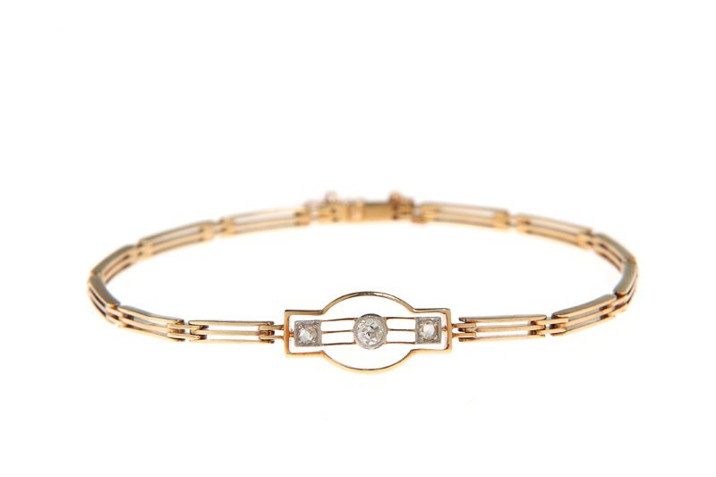 Bracelet, circa 1920-30, gold, platinum 0,950,