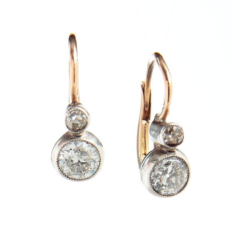"Diamond earrings, Austria XIX/XX th century gold ""4"" (0"