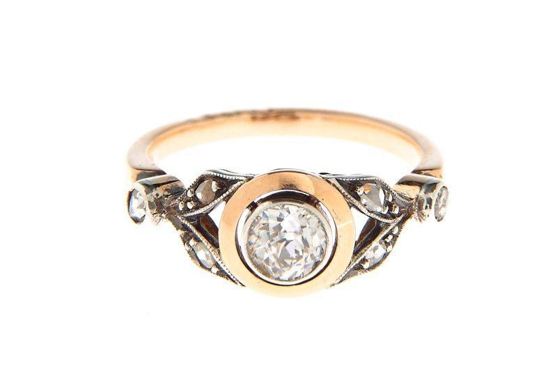 """Diamond ring, Poland, circa 1920-30 gold """"3"""", silver, 1"""