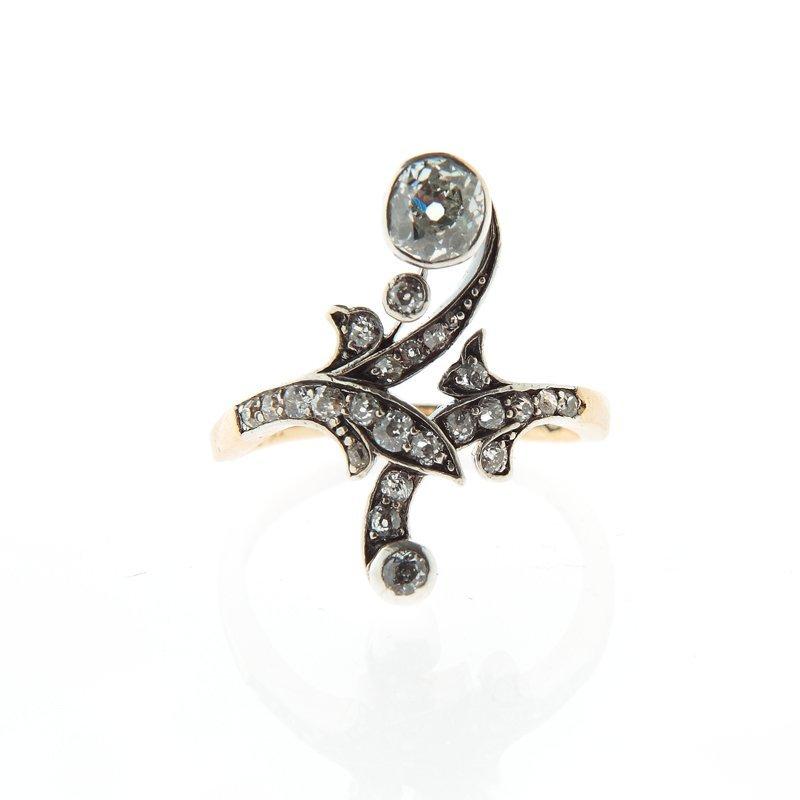 "Ring, Austria, XIX/XX th century gold ""4"", silver, 24 d"