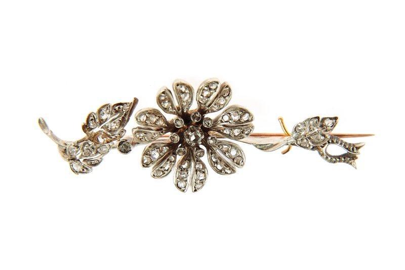 Brooch, XIX th century silver, gold, rose-cut diamonds,