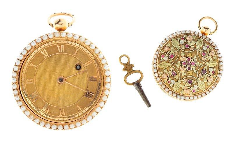 Pocket-sized watch, France circa 1740-1750  gold 18 K,