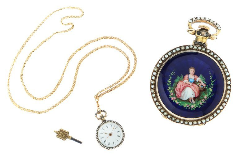 Pocket-sized watch, France, half of XIX th century, gol