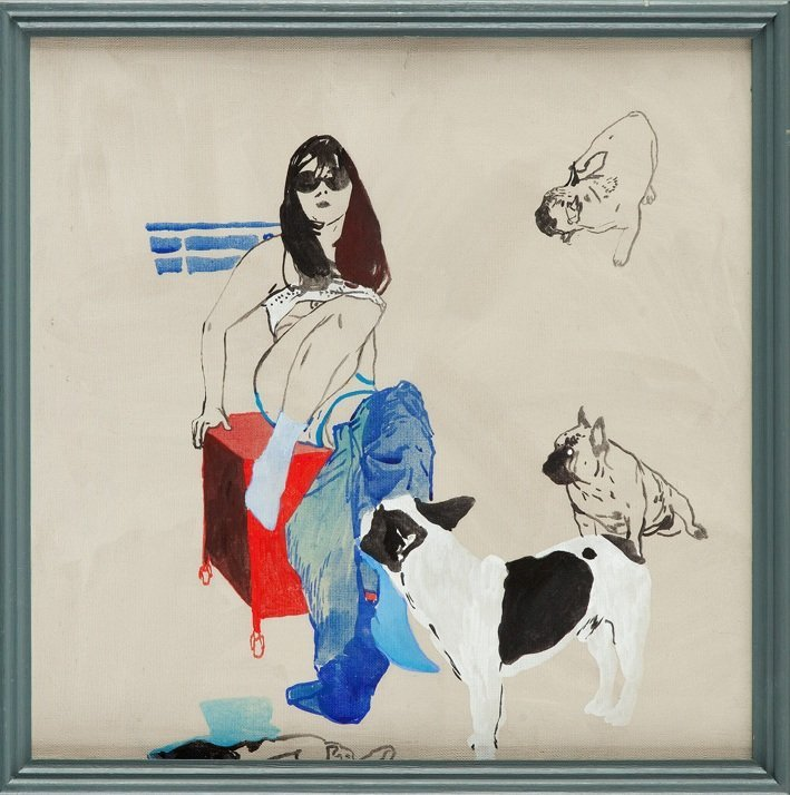 Agnieszka Sandomierz (b. 1978 ) Woman with dogs, 2006