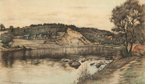 """Marian Trzebinski (1871 Gasin - 1942 Warsaw) """"Rzeka Wil"""