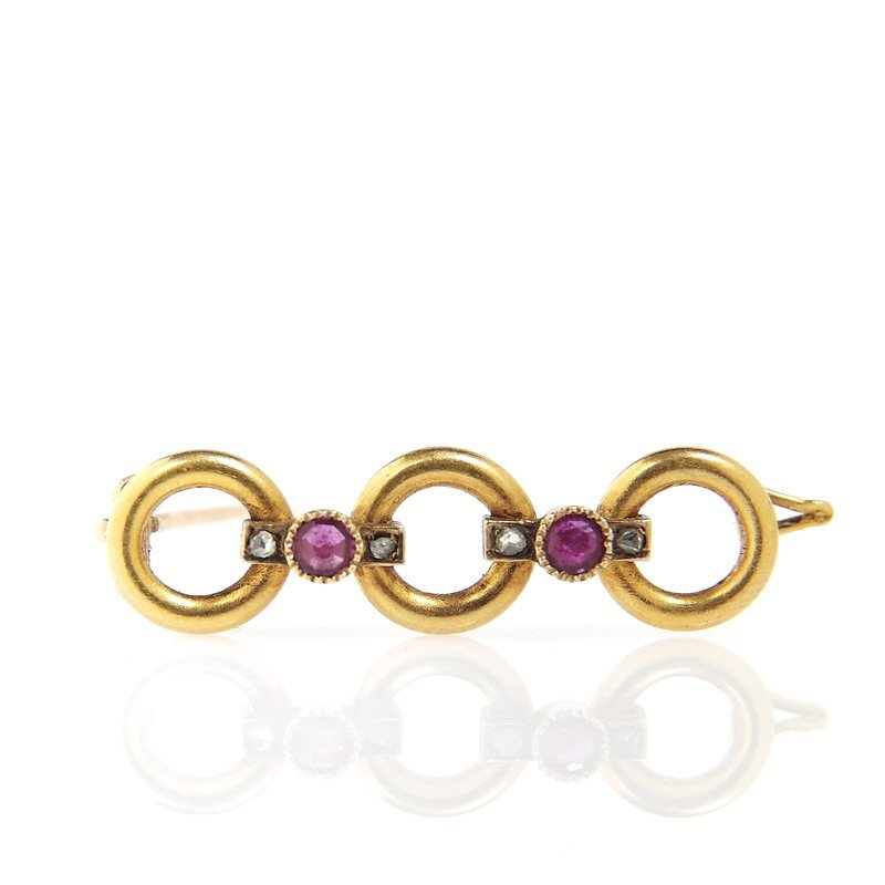 Brooch with rubies, Austria, XIX th century gold 0,585,