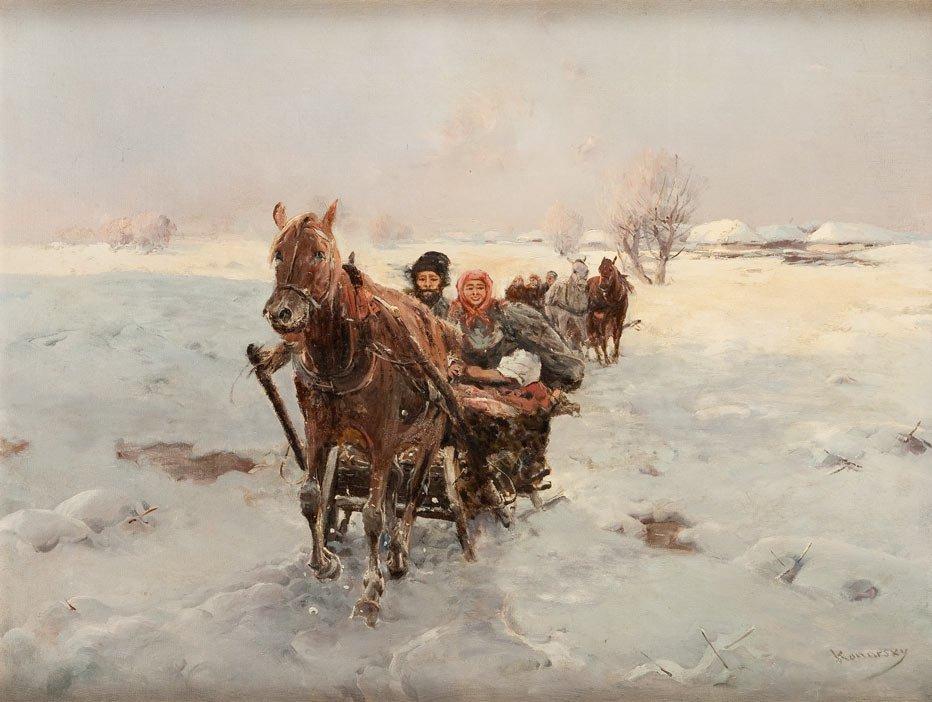Stanislaw Konarski XIX th century Sleigh ride