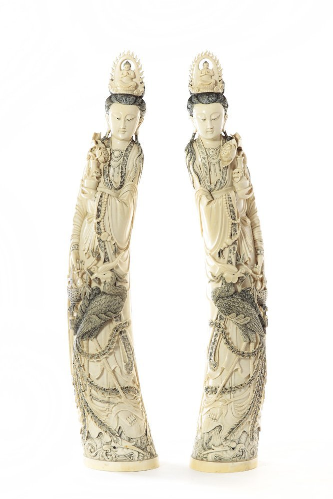 Goddess Guanyin figurines, XIX/XX c., China Ivory, heig