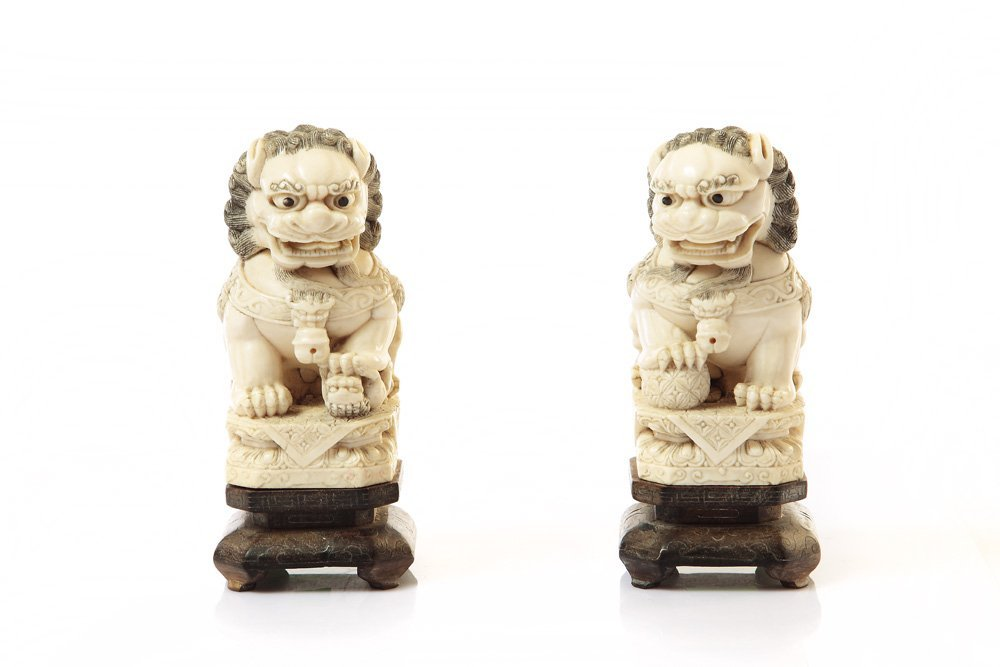 Chinese lions, XIX/XX c., China Ivory, wood base, heigh