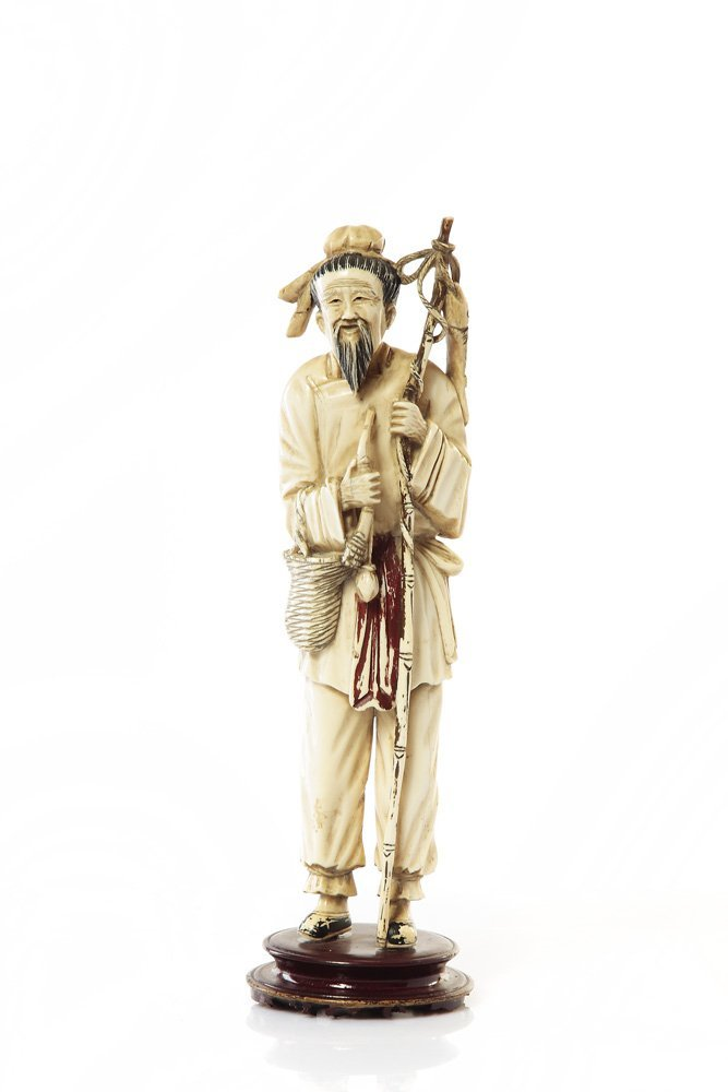 Old fisherman, XIX/XX c., China Ivory, wooden base, hei