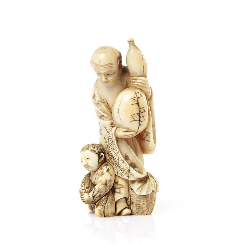Figurine of an old man with gourd and a boy, XIX/XX c.,