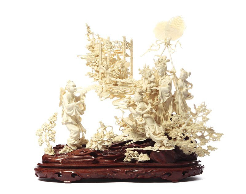 Scene with Guanyin goddess, XIX/XX c., China Ivory, woo
