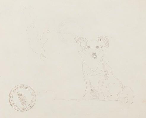 Jacek Malczewski (1854 Radom - 1929 Krakow) Dog  pencil