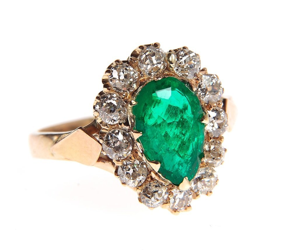 Ring with emerald, 19/20th century gold 0,585, 1