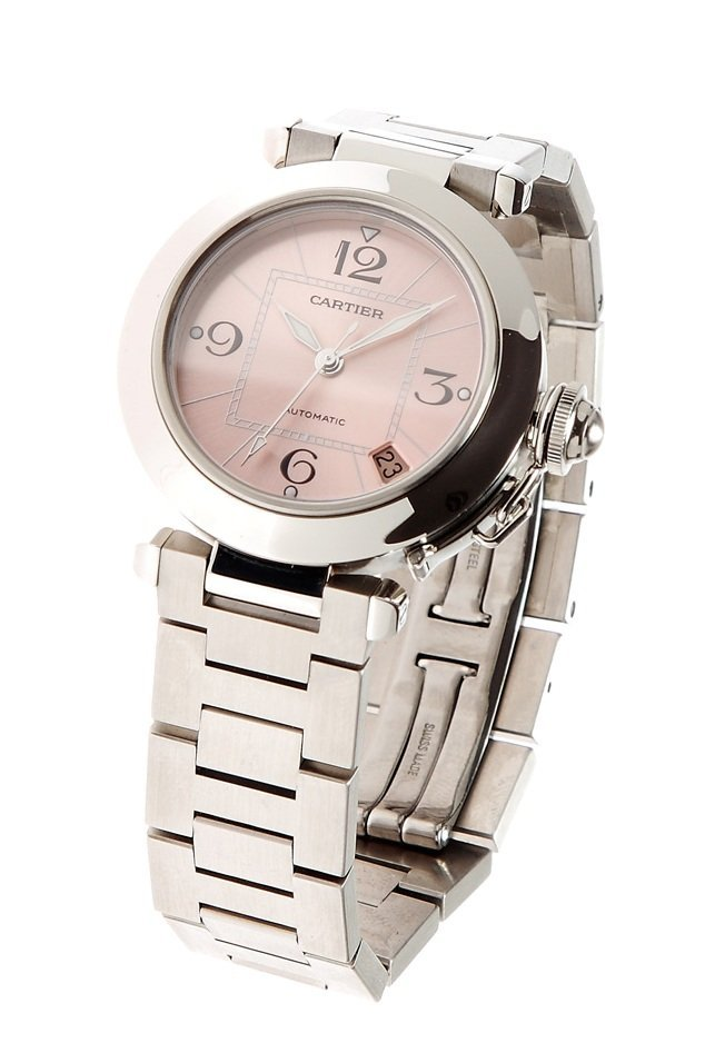 Watch, lady, Cartier Pasha Stainless Steel, dial pink,