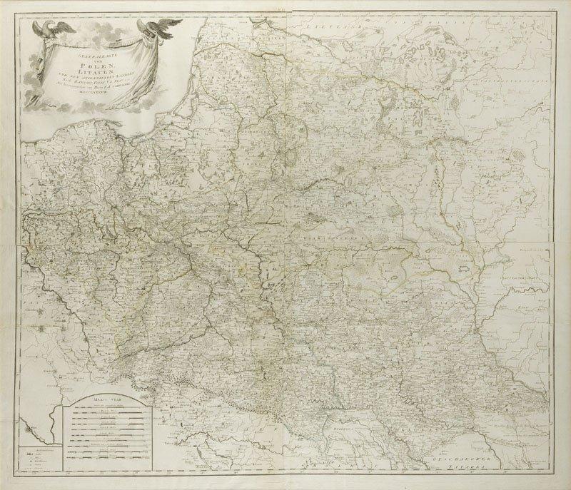 Hieronimus Benedicti (1756 - 1809 ) Map of Poland and