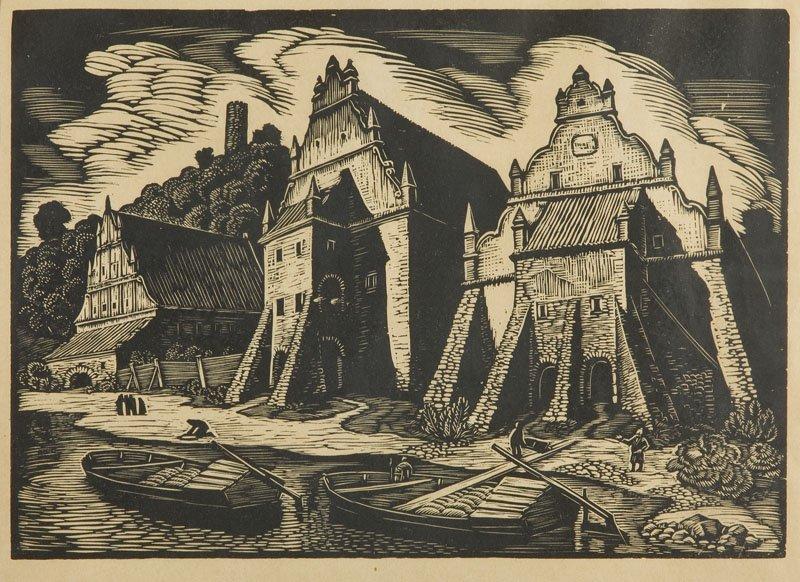 Wladyslaw Skoczylas (1883 - 1934) Granaries in