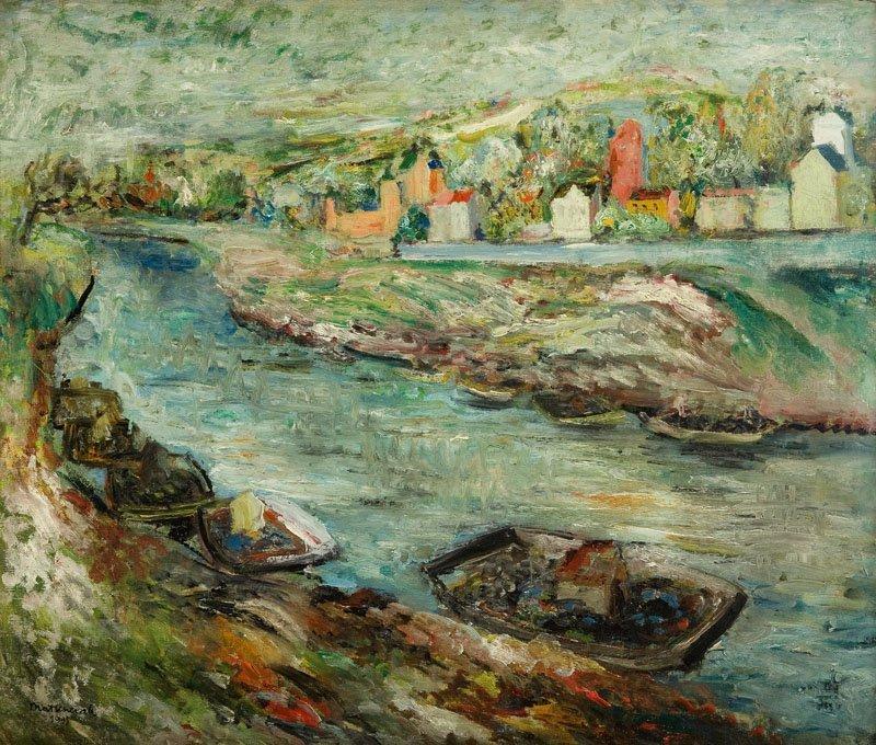 Edward Matuszczak (1906 - 1965) Landscape with boats on