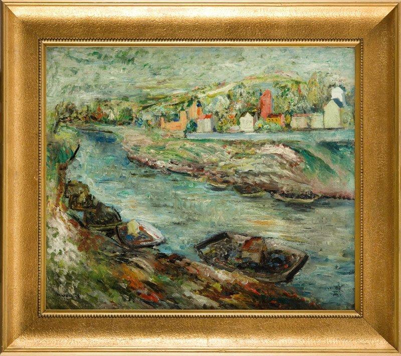 Edward Matuszczak (1906 - 1965) Landscape with boats on - 2