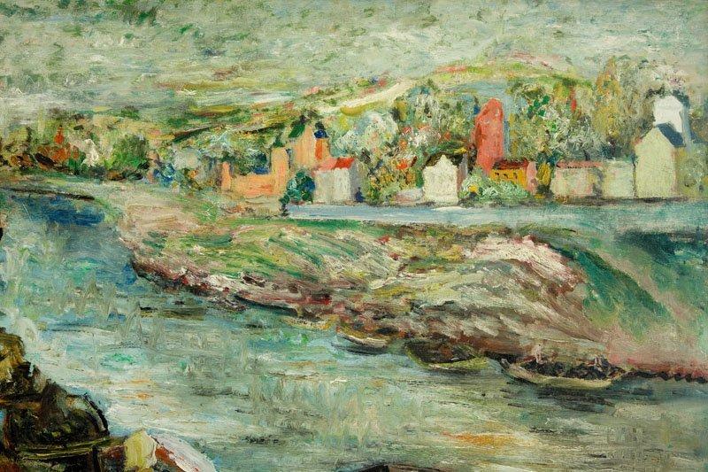 Edward Matuszczak (1906 - 1965) Landscape with boats on - 4