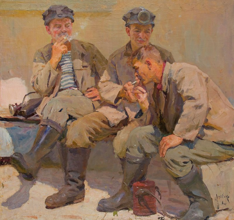 Eugeni Luchenko (1914 - 1994), Three Miners, 1960, oil