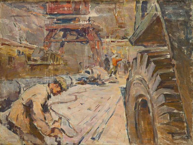 Anatoly Shkolin (b. 1926), Work in Factory, 1961, oil