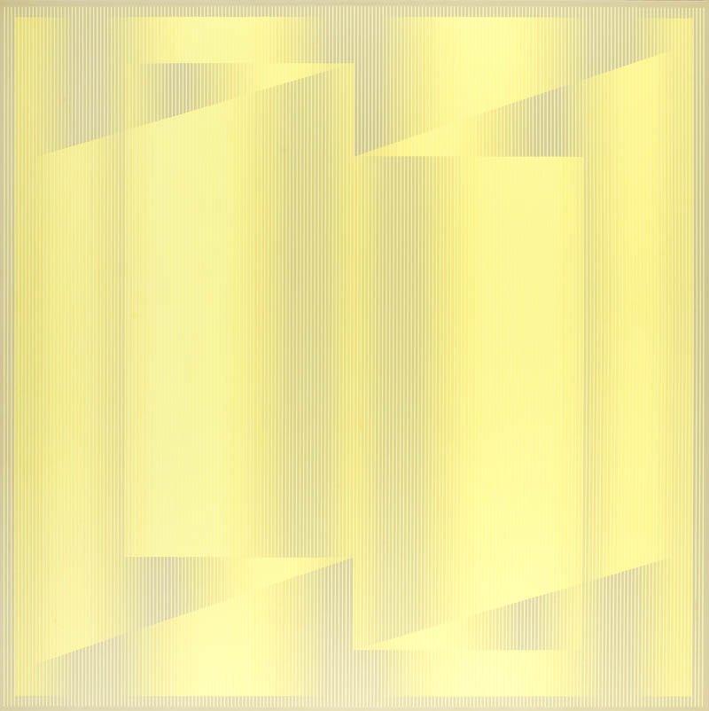 """Julian Stanczak (b. 1928) """"Turn Yellow"""", 1978; acrylic"""