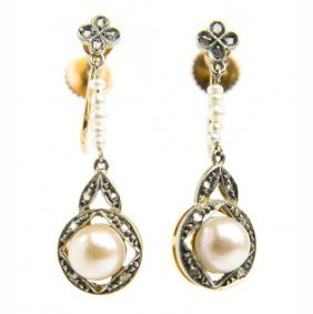 Pair Of Earrings With Pearls, Early 20th Century; 0.750