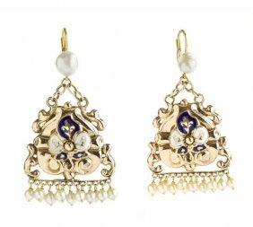 Pair Of Enamelled Earrings With Pearls, Biedermeier,