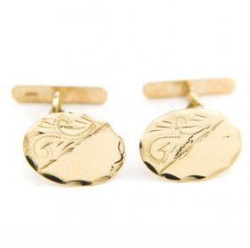 Engraved Cufflinks, 20th Century; 0.375 Gold, Engraved,