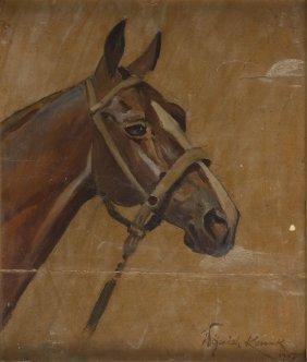 Wojciech Kossak (1856 - 1942) Horse Head, 1932; Oil On