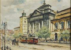 Jerzy Pawlowski b 1909 A wiew with St Ann church