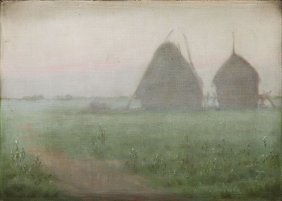 ", 20th Century, ""foggy Morning"", Around 1927; Oil On"