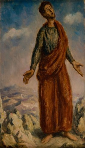 "Leonid Frechkop (1897 - 1982) ""preacher""; Oil On Board,"