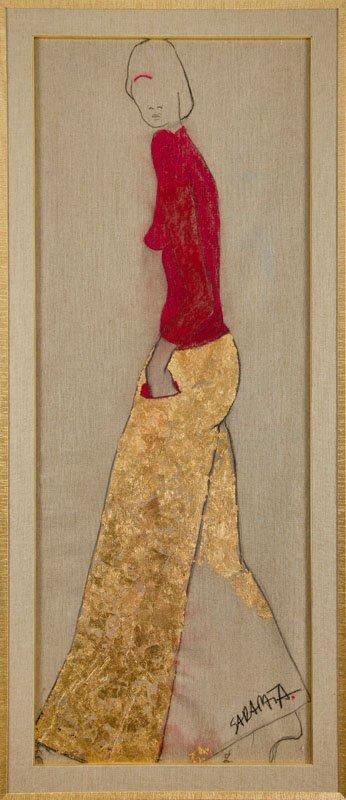 Joanna Sarapata (b. 1962) Female Figure; acrylic on