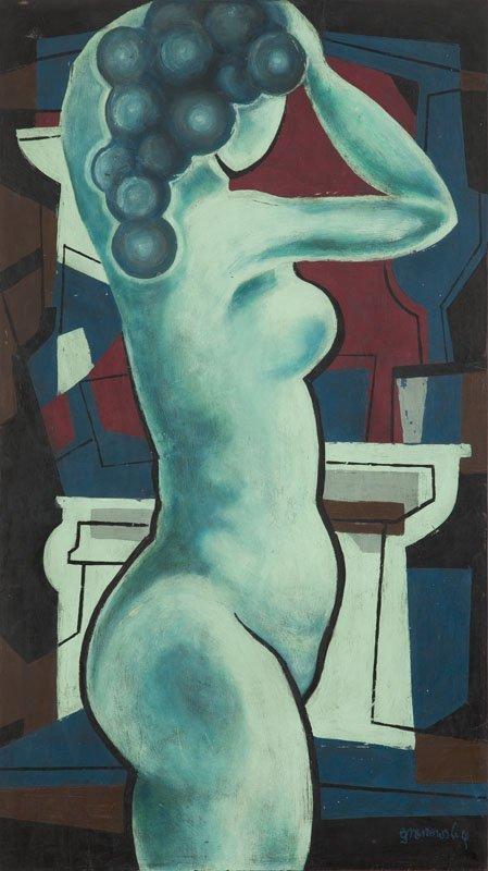 Tadeusz Gronowski (1894 - 1990) Nude; oil on plywood,