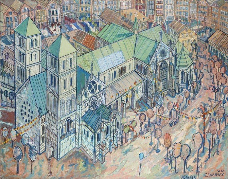 "Edward Dwurnik (b. 1943) ""Cathedral in Muenster"", 1984;"