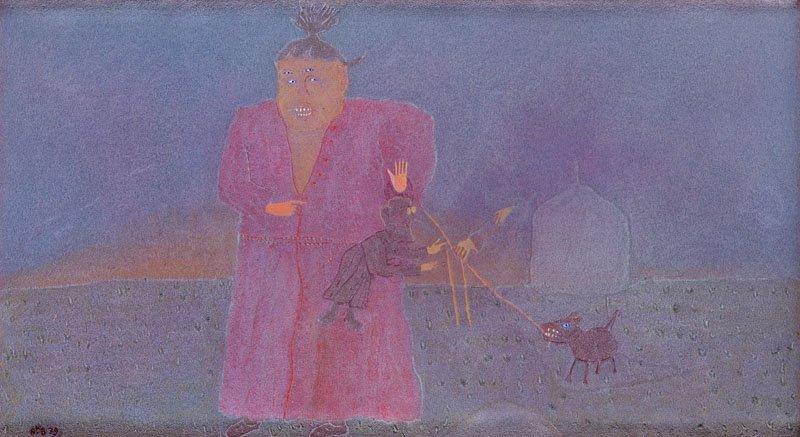 """Andrzej Bienkowski (b. 1946) """"Playing with a Dog"""", 1979;"""