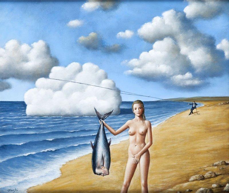 Rafal Olbinski (b. 1943) The Catch, 2005; acrylic, oil