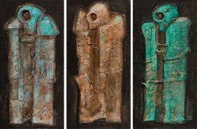 Wojciech Kopczynski (b. 1955) Triptych; Collage, Oil,