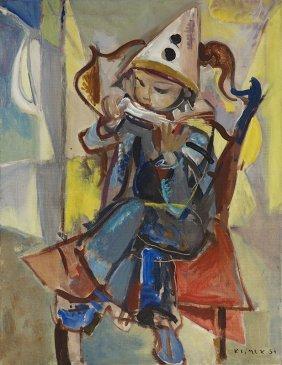 "Ludwik Klimek (1912 - 1992) ""pierrot With Harmonica"","