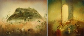 Sabina Lonty (b. 1945) Two Paintings: Hut And Landscape;