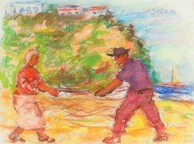 Jakub Zucker (1900 - 1981) Sailors With Nets, Pastel On