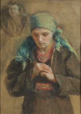 Teodor Axentowicz (1859 - 1938) Portrait Of Woman,