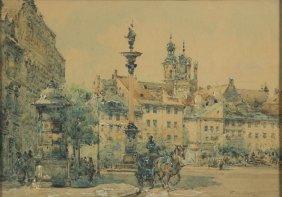 Wladyslaw Chmielinski (1911 - 1979) Old Town In Warsaw,