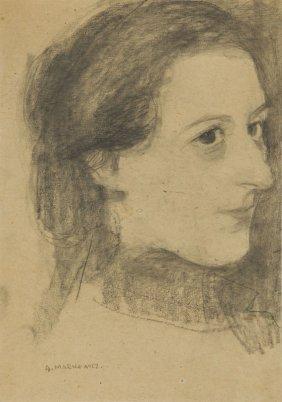 Artur Markowicz (1872 - 1934) Portrait Of Girl, Crayon